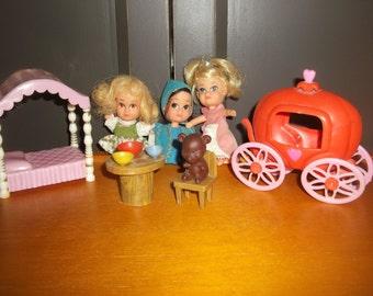 Vintage Storykins Dolls & Accessories Cinderella, Sleeping Beauty, Goldilocks 60's NICE!!