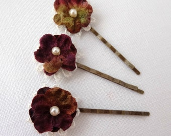 Burgundy and Olive Forget-me-not Hair Pins, Set of Three Floral & Lace Bobby Pins
