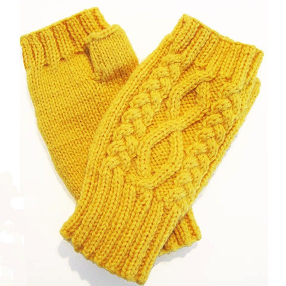 Cable stitch Fingerless Gloves - Hand warmers Downloadable knitting pattern f...