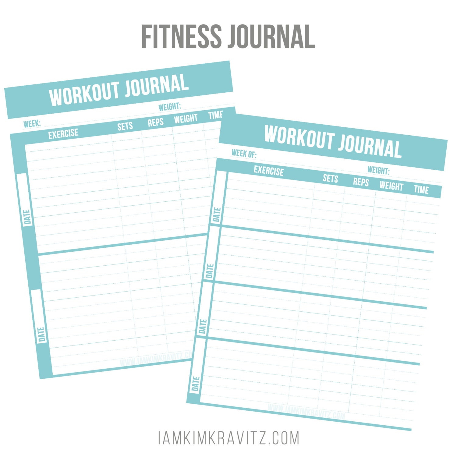 Inventive image in printable fitness journal