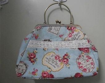 Vintage Clutch Handmade Large Kiss-lock Purse Handbag Tote Bag Free shipping