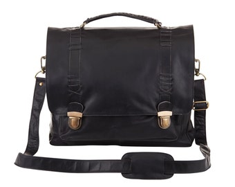 "Leather Satchel - Messenger Bag, 15"" Laptop capacity in Black by MAHI Leather"