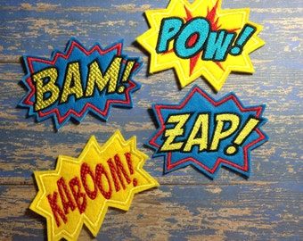 Set of four - Bam, Pow, Kaboom and Zap felties - turn them into pins or magnets