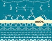 10 Snowflake lace , borders Clipart
