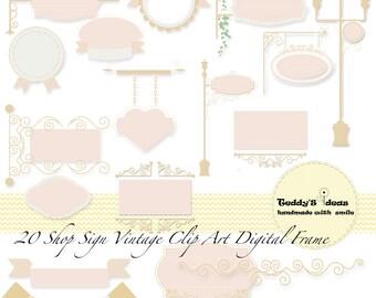 20 digital shop sign, vintage digital clip art, frames, bunting