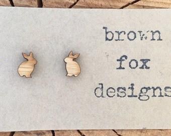 Sitting wood bunny rabbit stud earrings