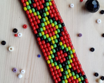 Red Native American Indian Style Beaded Choker Necklace