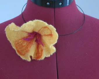 felted flower on chain