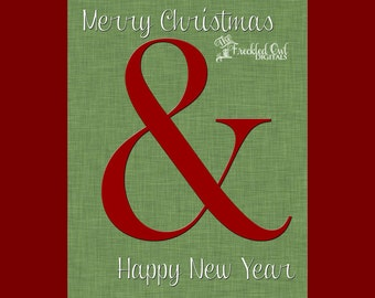 Large Ampersand Print, Merry Christmas & Happy New Year, Christmas Decorations, Christmas Printable, INSTANT DOWNLOAD