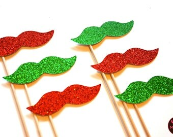 Ugly Christmas Sweater Party Props - Set of 6 - Red and Green Glitter Mustaches - Christmas Props - Photo Booth Props