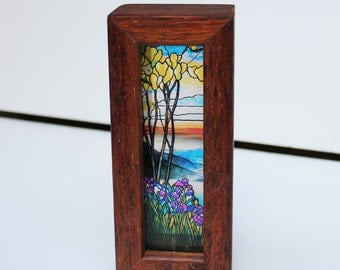Magnolias and Irises - Louis Comfort Tiffany Lightbox with tealight candle holder