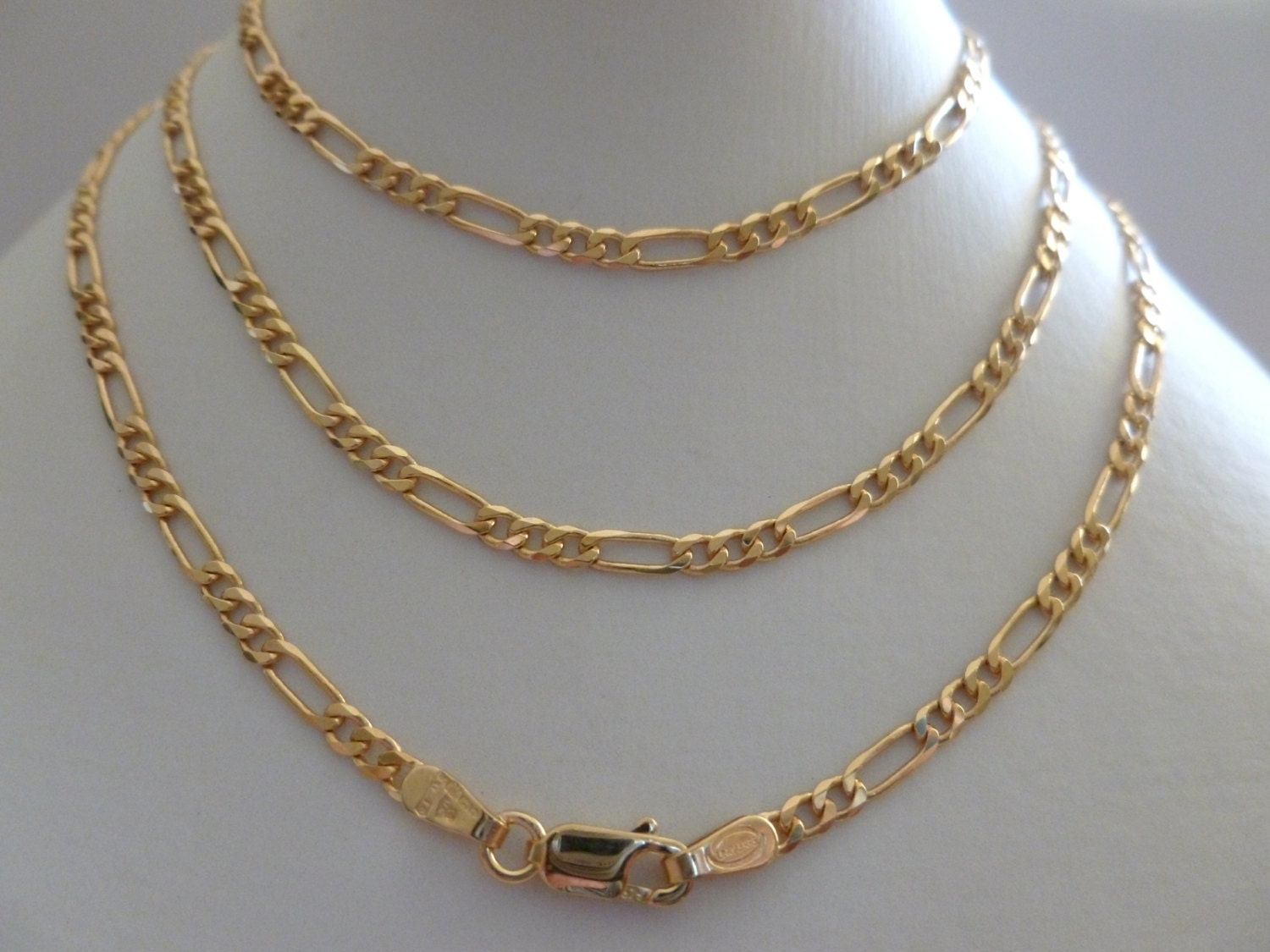 9ct 9k solid yellow gold figaro flat link chain necklace 60cm