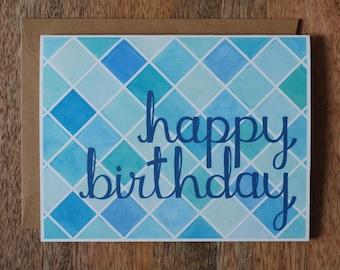 Happy Birthday Card- Happy Birthday Watercolor Pattern