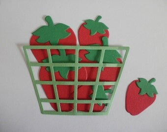 6 Die Cut Strawberries and Basket Embellishment for Scrapbooking or Card Making