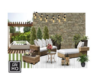 Patio Garden design service. Outdoor designer virtual service. Moodboard furniture decor project. Easy and affordable