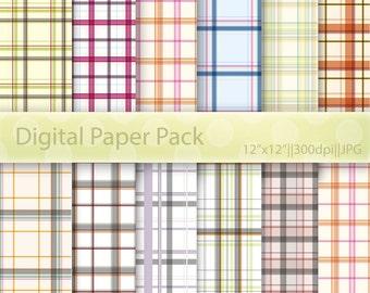Digital Paper, Plaid Digital Paper, Plaid Background, Plaid Scrapbook, Digital Plaid, Printable Scrapbook Card Stock