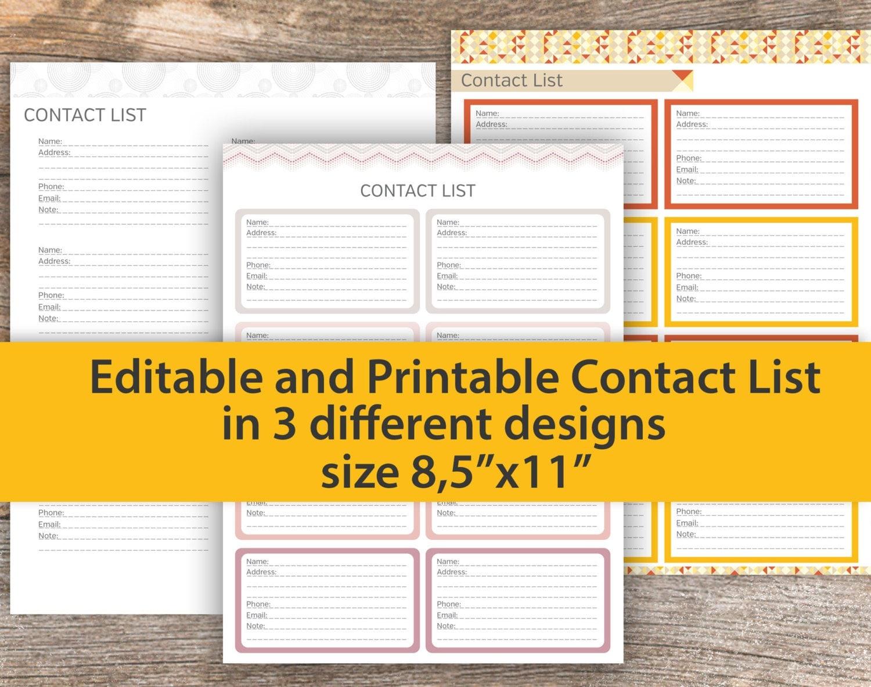 printable contact list