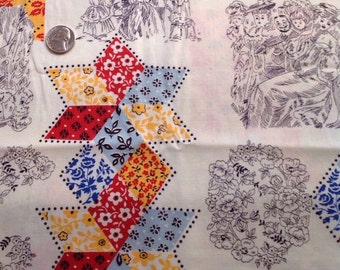 Vintage Quilt & Victorian Print Fabric cheater cloth