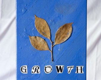 Small tree leaves on blue background - Growth Canvas is 8 in x 10 in.