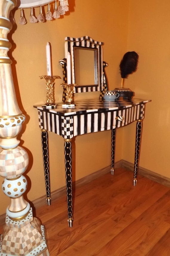 Hand Painted Black White Check Vanity Amp Mirror Whimsical Table