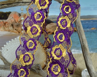 purple and gold, lace, embroidered, finished edges, flower design, tulle. (pu008)