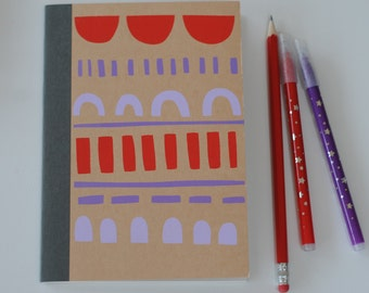 Hand printed slimline notebook