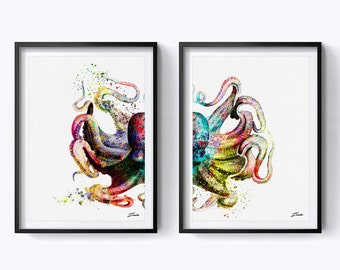 octopus art print octopus print watercolor octopus poster wall art decor wall poster octopus decor watercolor painting A145-2