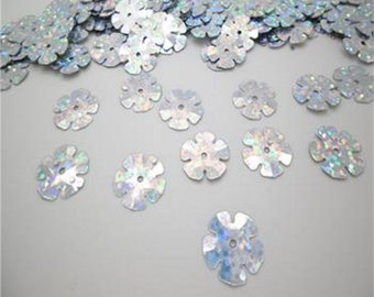 1600 Silver Holographic 13mm Flower Sequins