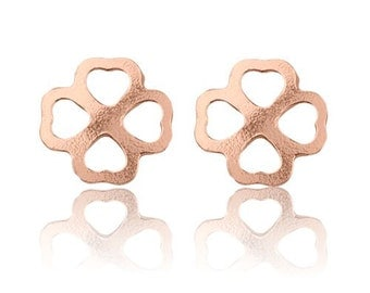 Earrings Clover Sterling Silver 925 plated with pink gold