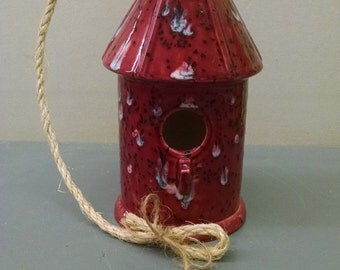Cranverry Frost Birdhouse--Hand-Painted--Glazed Ceramic Bisque--Home-Patio-Garden Decor--Seasonal-Year Round Usage