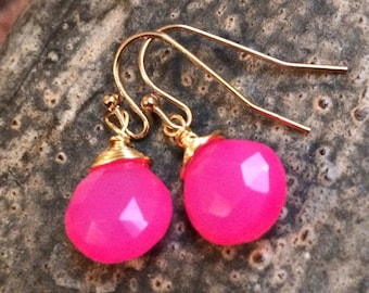 Hot Pink Chalcedony Briolette and Gold Pl Wrap Artisan Earrings by Min Favorit