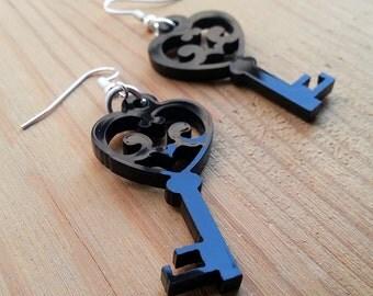 Heart Key Laser Cut Earrings - Black Acrylic Silhouette Jewelry