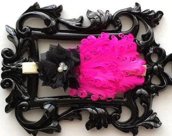 Pink and black feather headband