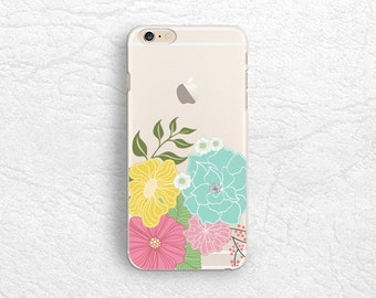 Floral flower Clear transparent phone case for iPhone 7, Nexus 6P, Sony Xperia XZ, LG g6, Samsung S8 Plus, S7 Edge, Google Pixel XL -P14