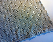 Hand Knitted Lace Baby Blanket in Silver White Color / 100 pct. Mercerized Cotton Yarn