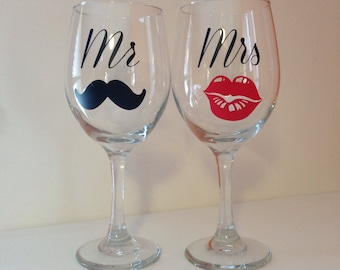 Mr and mrs wine glasses; married wine glasses; mustache and lips wine glasses; bridal wine glasses; wedding wine glasses