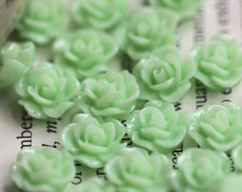 20pcs 10MM Resin Rose Flower Flat Back Light Green Resin Cabochon Craft (No Hole)