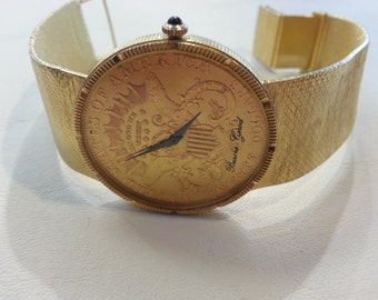 18kt Bueche Girod Coin Watch