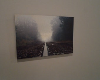 Railroad track on a foggy morning, Metal Print, 6x9