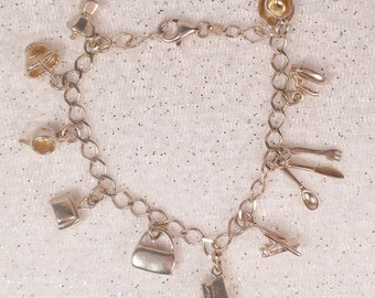 """1950's Sterling Silver Add A Charm Bracelet 7.25"""" Home Economics Household 10pc."""