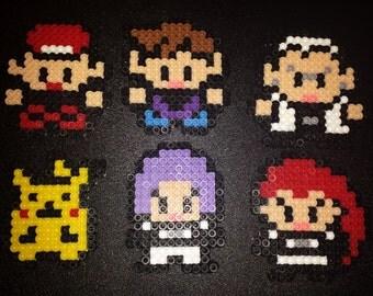 Perler Pokemon Characters - Ash, Pikachu, Professor Oak, Gary, Jesse, James - Bead Sprite - Pixel Art - Pokemon Go