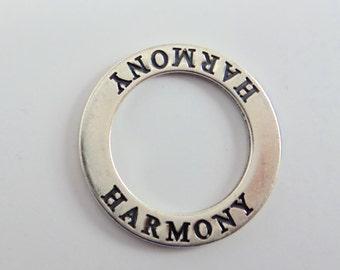 """solid 925 sterling silver affirmation circle charm pendant. """"HARMONY"""". Shiny silver. 22 mm. Wholesale. CP23"""
