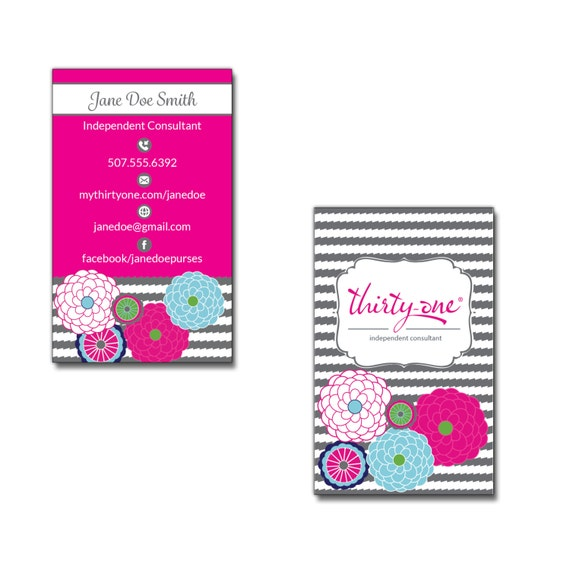 Thirty e Consultant Business Card Bubble Bloom and Grey Wave