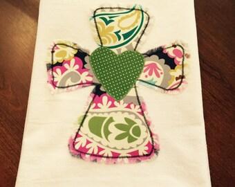 Frayed Cross Flour Sack Dish Towel