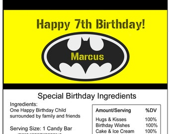 Batman Birthday Candy Bar Wrapper
