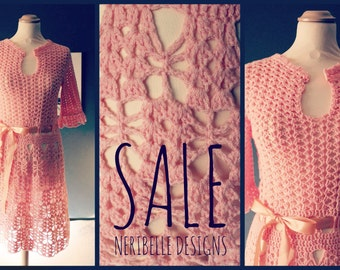 SALE!!!Crochet vintage ladies dress M-L / was 195.00 euro now 95.00 euro down to 50 euro