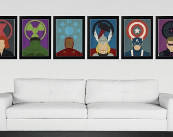 Superhero, Avengers - Minimalist, Vintage,Retro Movie Poster 6 Set