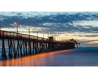 Imperial Beach Pier Wall Art - San Diego - Cloudy Photo Print - Sunset Photograph - Fine Art Photography -  Dusk - Panoramic Landscape