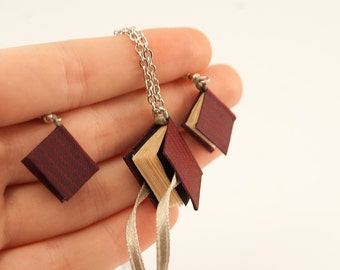 Little book earrings and necklace, mini journals