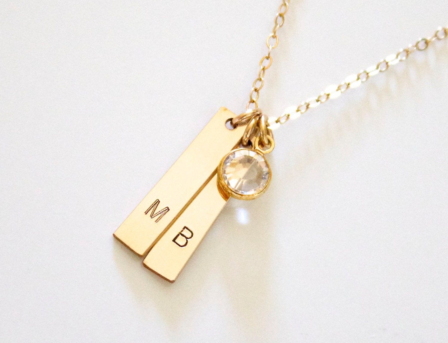 initial gold bar necklace vertical bar necklace by